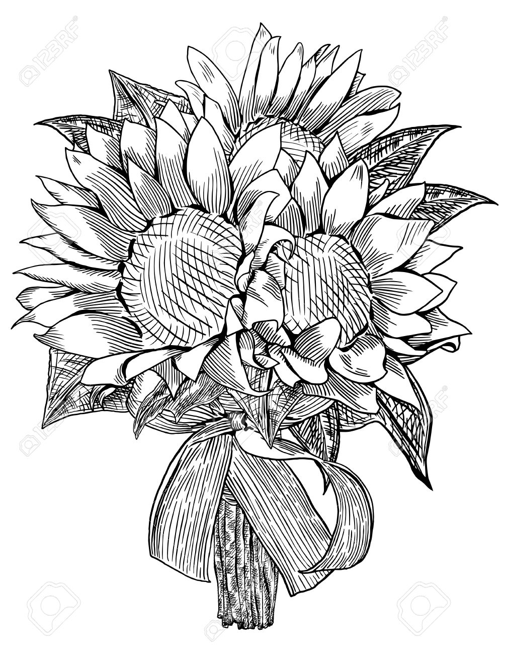 1004x1300 Sunflower Wedding Bouquet Is Hand Drawn And Live Traced Fills