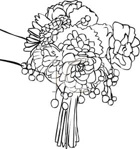 281x300 Black And White Cartoon Of A Bridal Bouquet