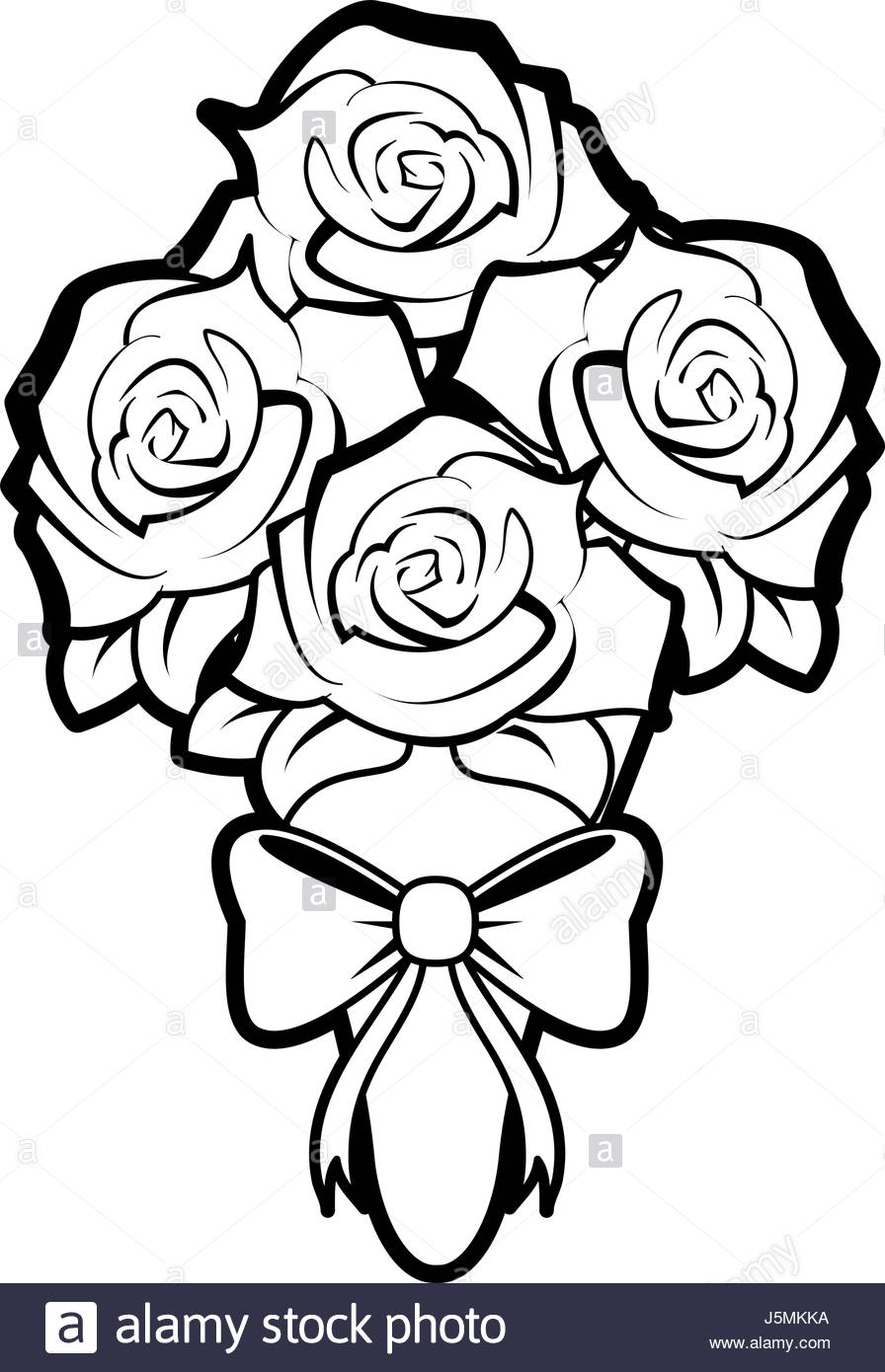 896x1390 Sketch Silhouette Image Wedding Bouquet Of Roses Stock Vector Art