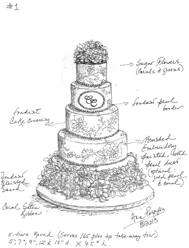 619x811 Custom Wedding Cake Sketch By Ana Parzych Cakes Www
