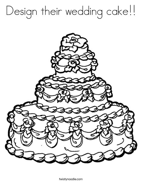 468x605 Design Their Wedding Cake Coloring Page