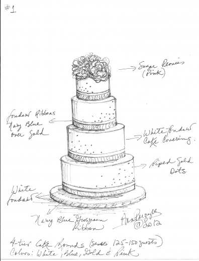 396x520 Drawings Of Wedding Cakes Melitafiore