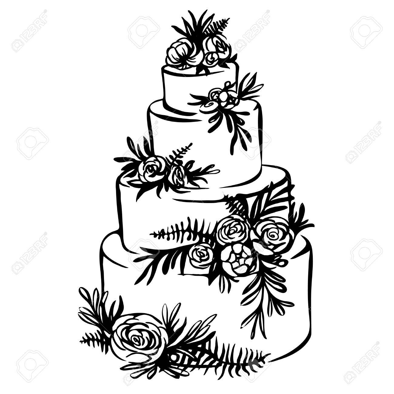 1300x1300 Hand Drawn Sketch Of Wedding Cake With Floral Decoration Isolated