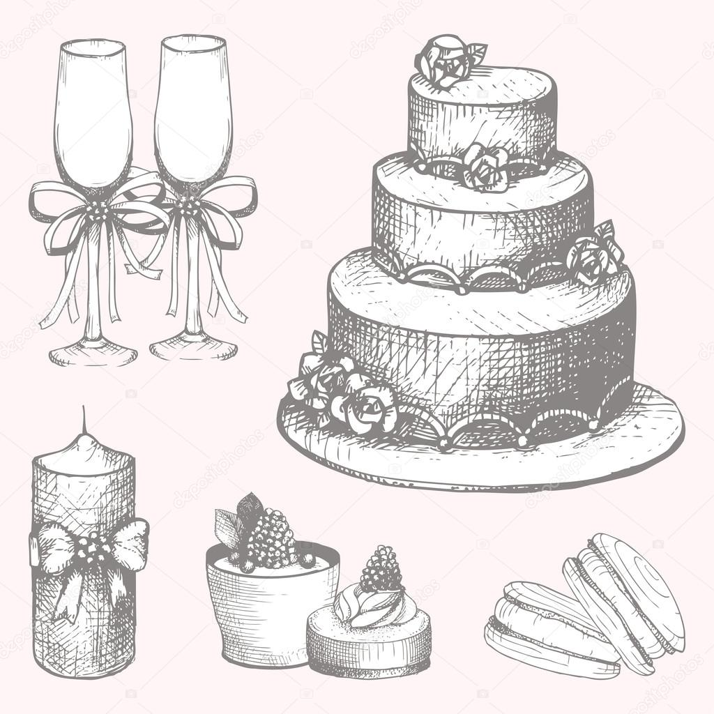 1024x1024 Hand Drawn Wedding Cake Design Elements Stock Vector Geraria