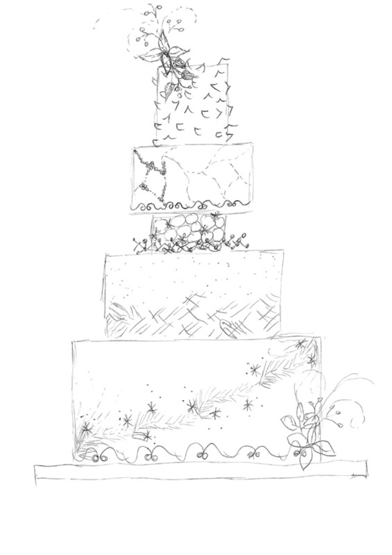 800x1132 Sketch To Cake Janelle Adams White Christmas Wedding Cake