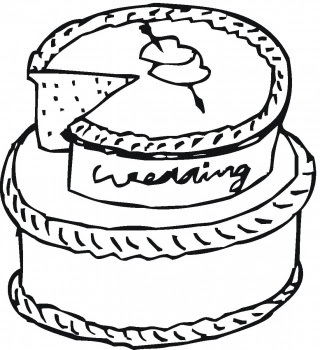 320x350 The Wedding Cakes Coloring Sheet For Drawing By Kids Cartoon