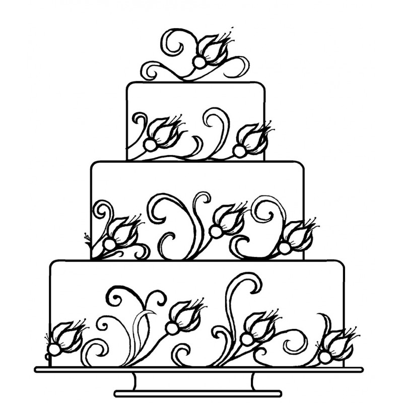 800x800 Tiered Wedding Cake Rubber Stamp