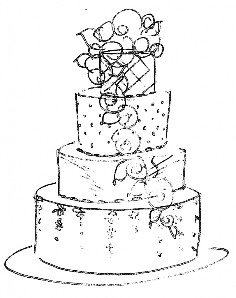 810x1024 Wedding Cake Clipart Sketch Pencil And In Color Wedding Cake