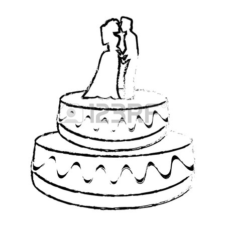 450x450 Wedding Cake Couple Dessert Sketch Vector Illustration Eps 10