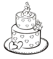 226x250 Wedding Cake Coloring Pages
