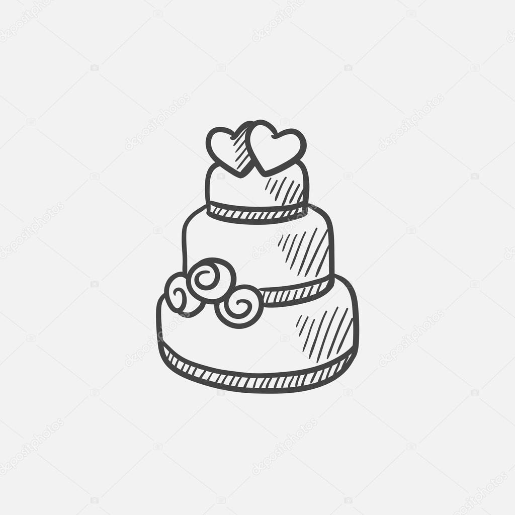 1024x1024 Wedding Cake Sketch Icon. Stock Vector Rastudio