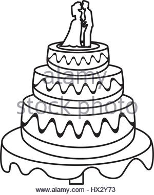 300x381 Wedding Cake Couple Dessert Sketch Stock Vector Art Amp Illustration
