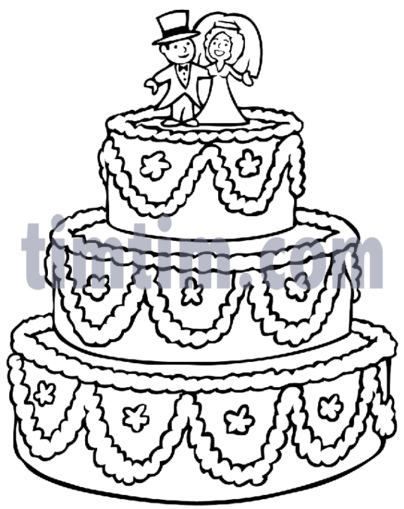 Wedding Cake Line Drawing At Getdrawings Com Free For Personal Use