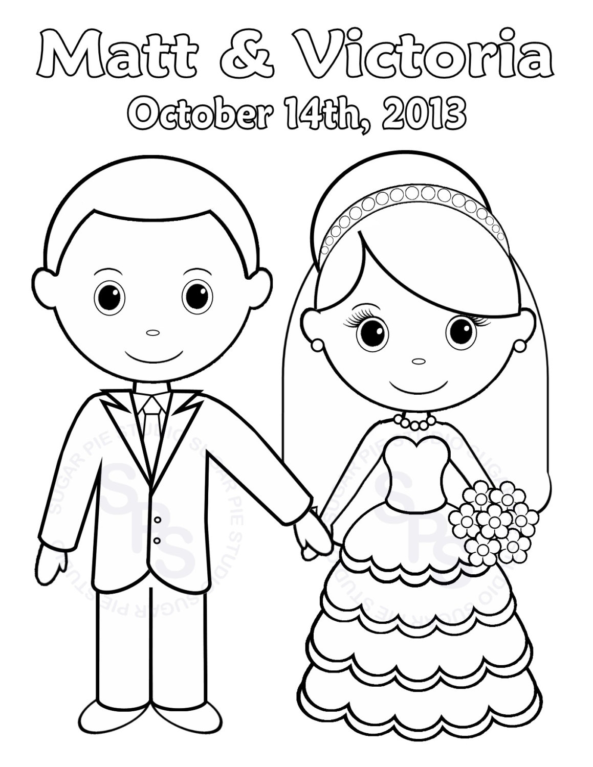 Wedding cartoon drawing at free for for Marriage coloring pages