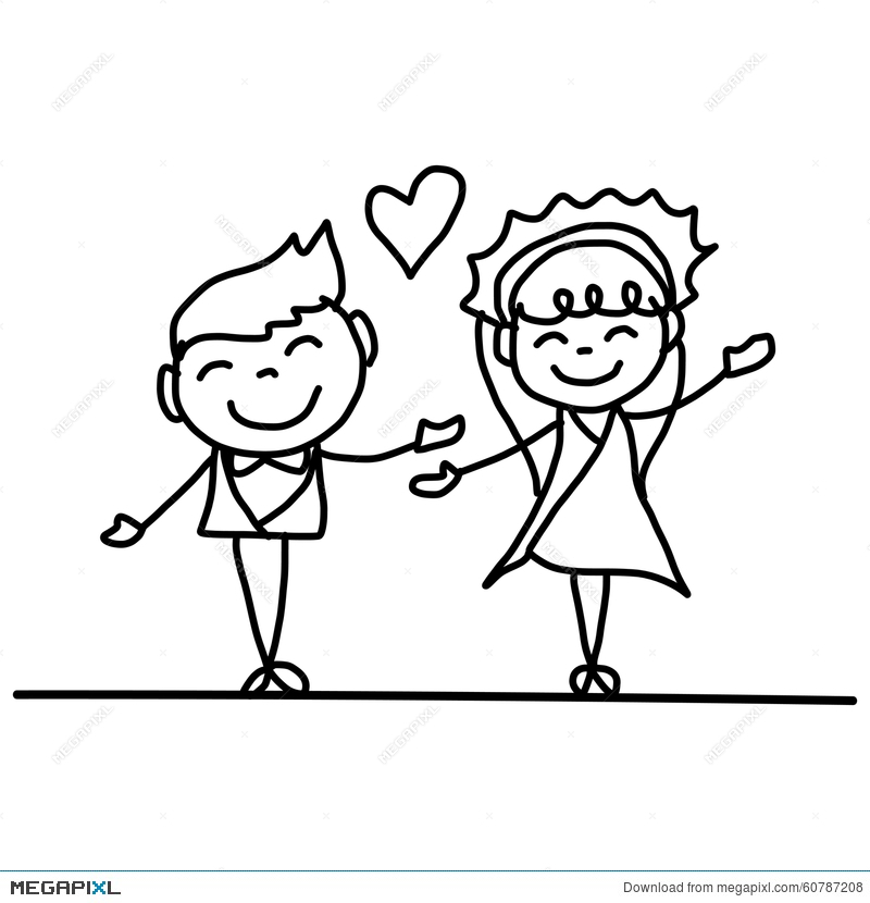 800x830 Hand Drawing Cartoon Happy Couple Wedding Illustration 60787208