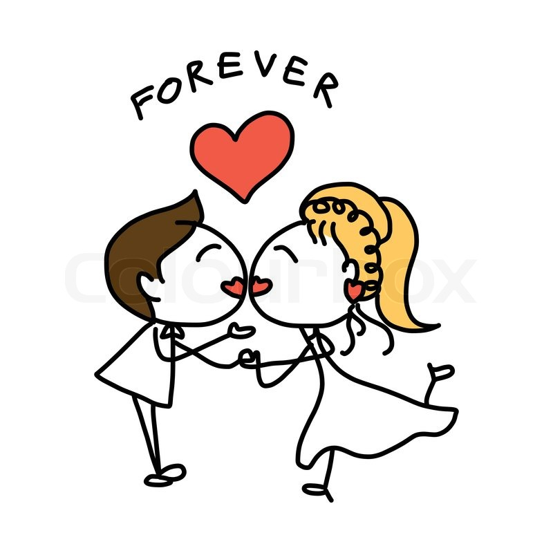 800x800 Hand Drawing Cartoon Abstract Love And Wedding Stock Vector