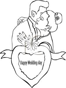 227x300 Black And White Cartoon Of A Couple Embracing On Their Wedding Day