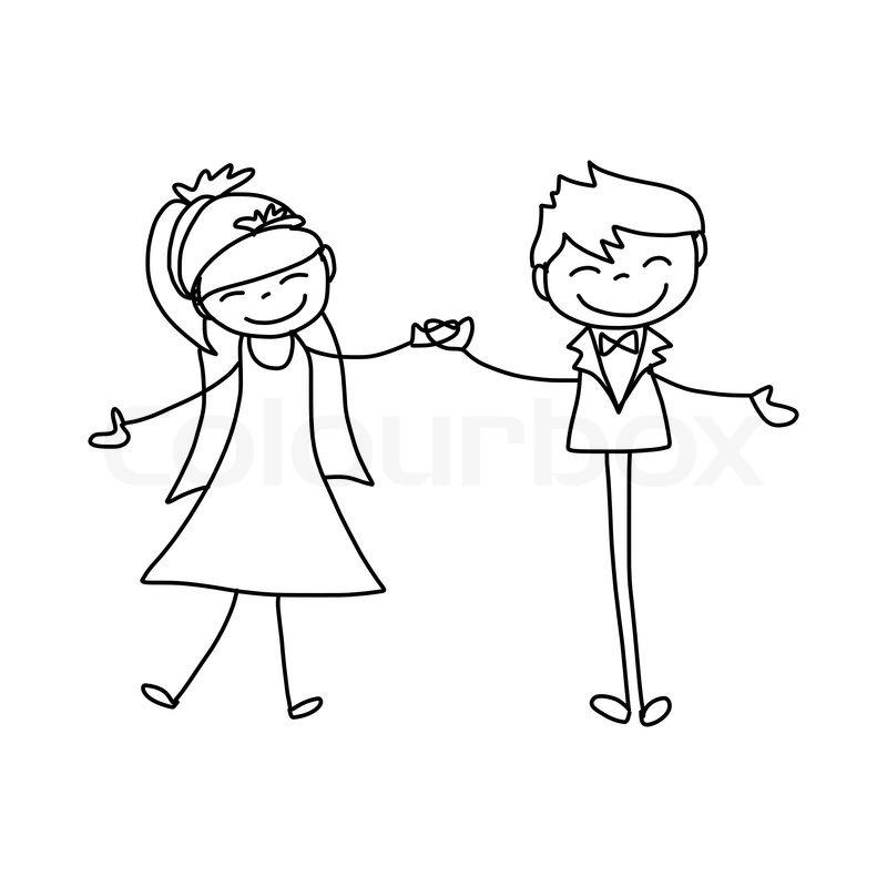 800x800 Hand Drawing Cartoon Character Happy Lovers Wedding Stock Vector