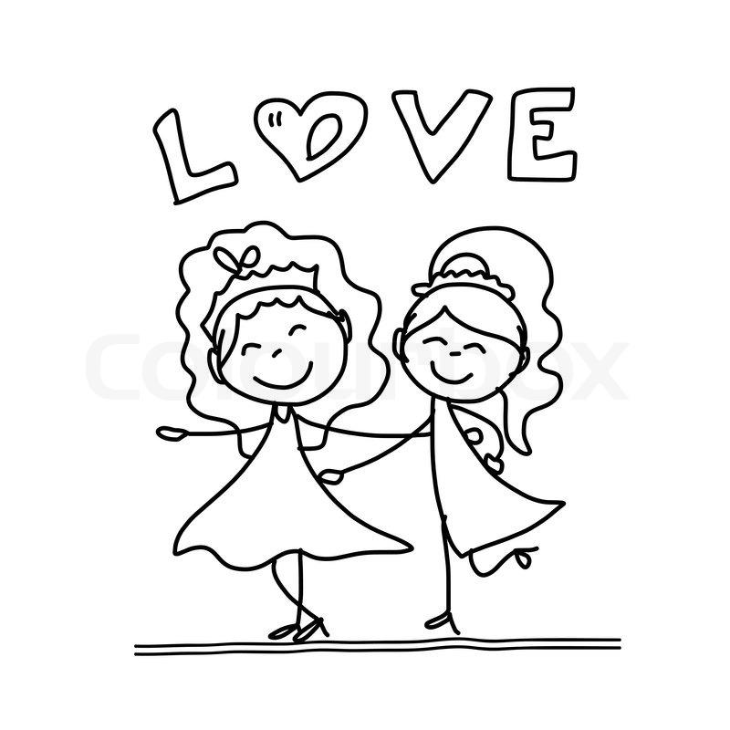 800x800 Hand Drawing Cartoon Concept Happy Same Sex Couple Wedding Stock