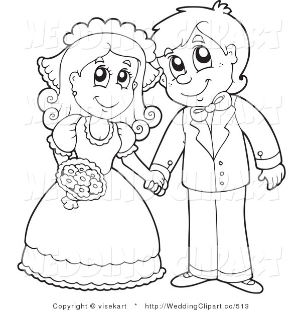 600x620 Vector Cartoon Marriage Clipart Of A Wedding Black And White