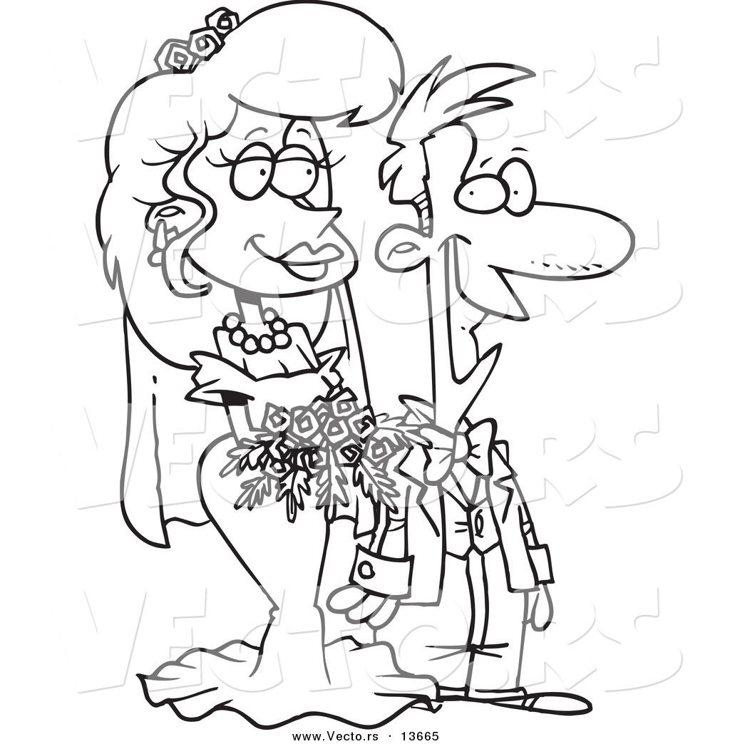 1024x1044 Vector Of A Cartoon Pleased Wedding Couple