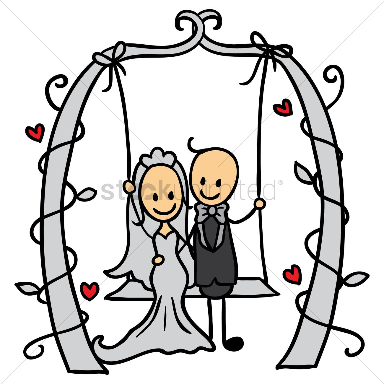 1300x1300 Wedding Couple On A Swing Vector Image