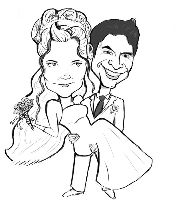 600x691 Wedding Caricature By Cr3nshaw