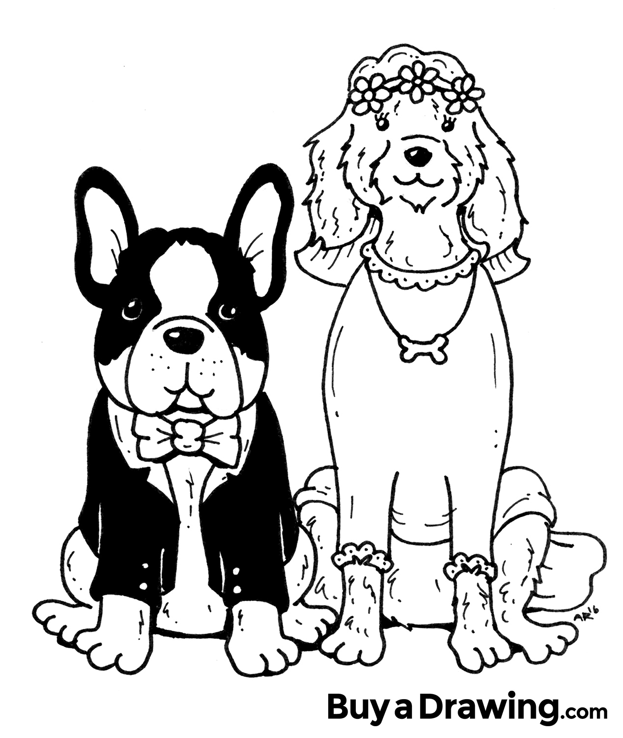 1266x1500 Cartoon Drawing Of Bride And Groom Dogs For Wedding Gifts