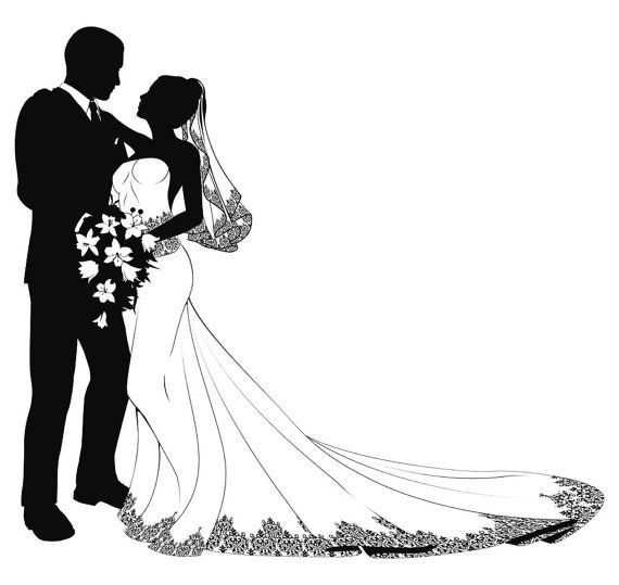 570x539 Drawn Bride Married Couple