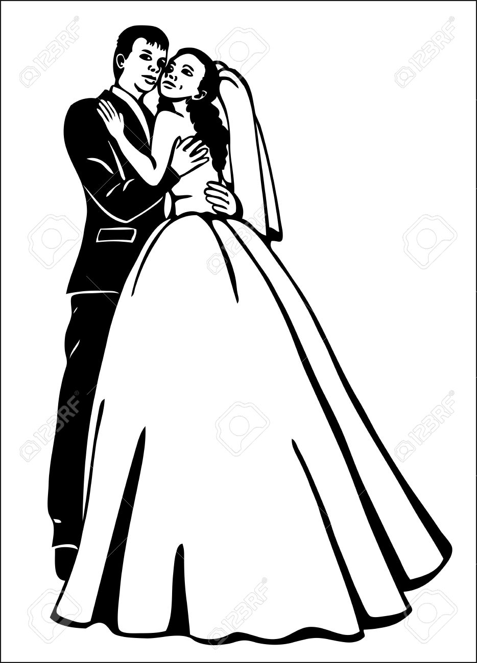 934x1300 Preview Couples In A Wedding Dress Hugs Drawing On Paper Royalty