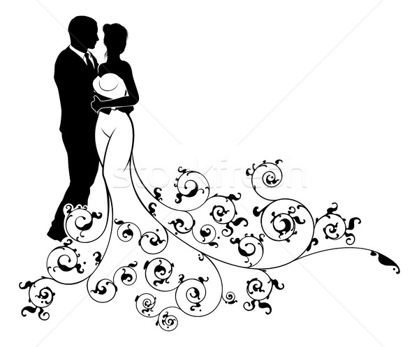 600x497 Wedding Couple Bride And Groom Silhouettes Vector Illustration