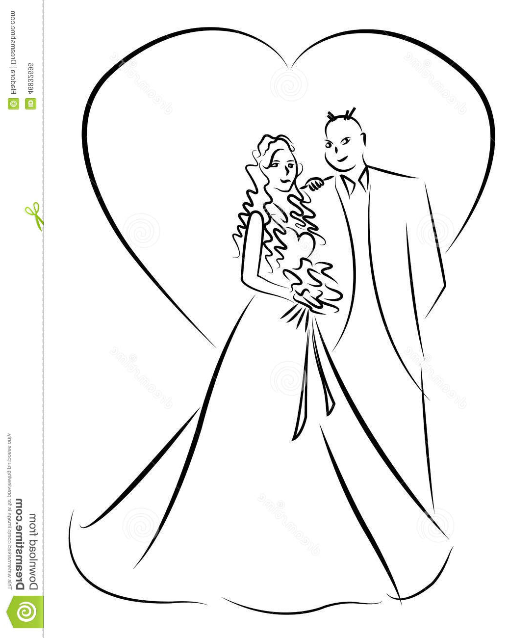 1038x1300 Wedding Couple Cute Drawing Stock Illustration