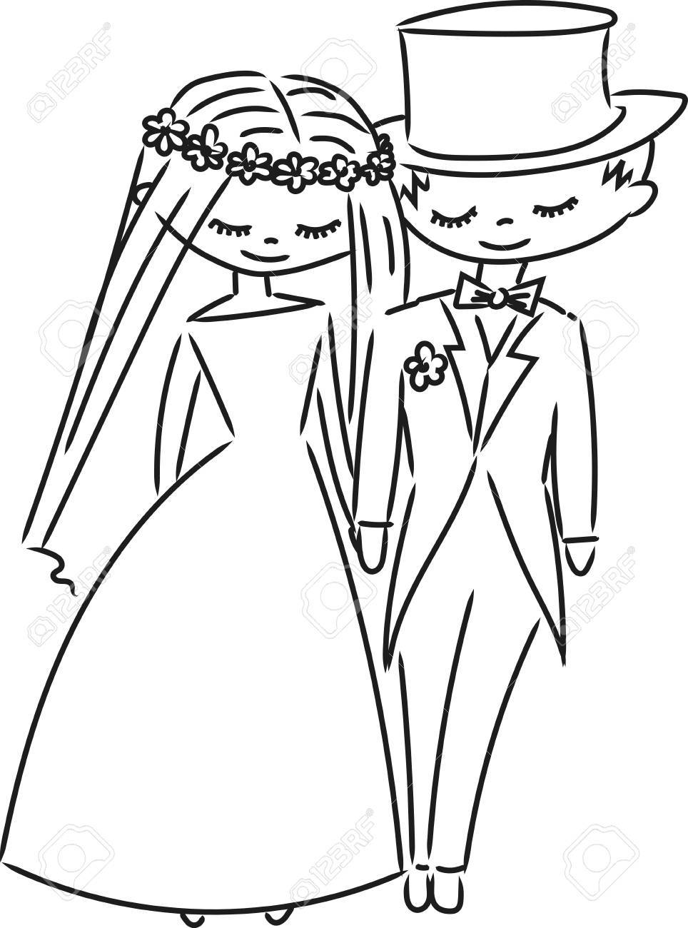 964x1300 Wedding Couple Sketch Royalty Free Cliparts, Vectors, And Stock