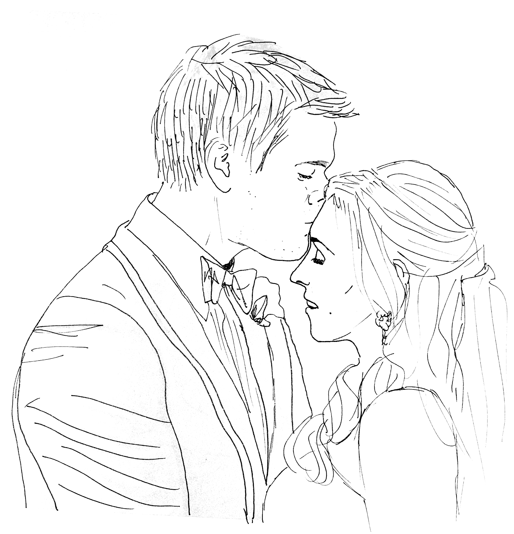 lesbian wedding coloring pages | Wedding Couple Drawing at GetDrawings.com | Free for ...
