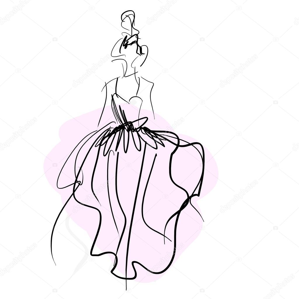 1024x1024 Concept bride women in wedding dress, fashion sketch — Stock Photo
