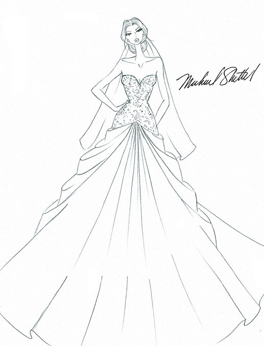 518x680 Designer Fantasy Sketches Kim Kardashian#39s Wedding Gown
