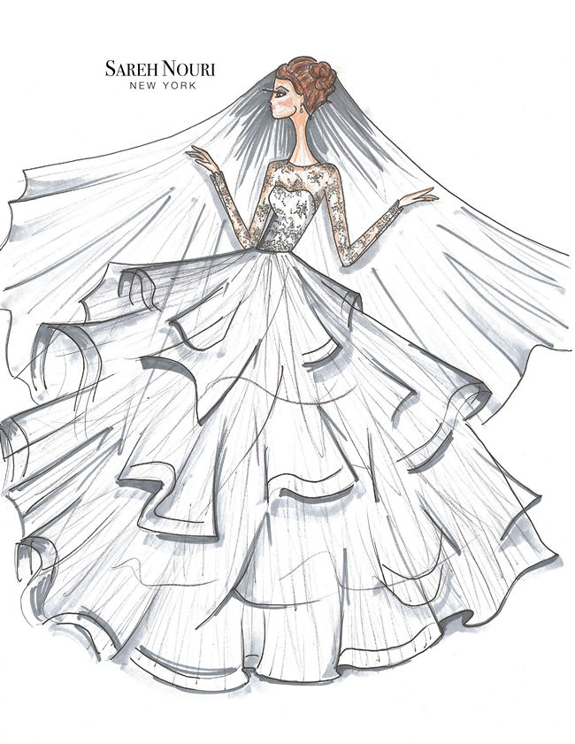 650x841 Drawn wedding dress designed clothes
