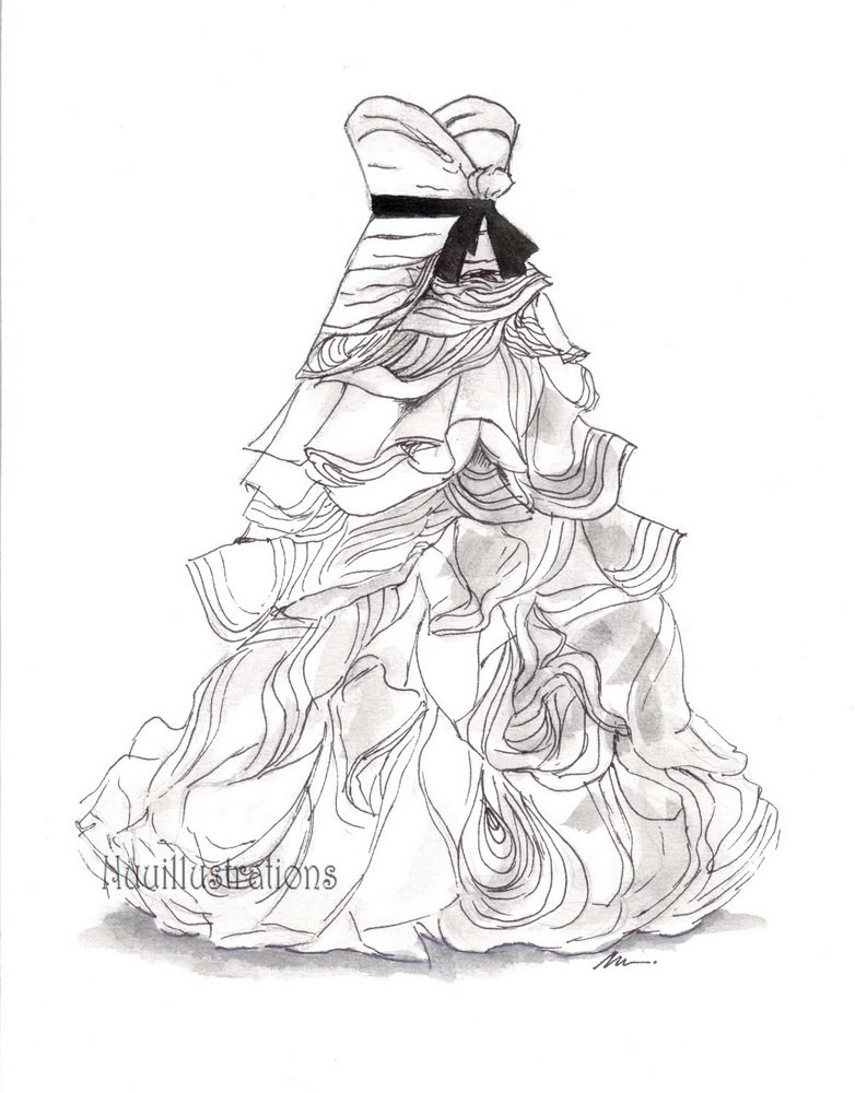 782x1000 9x12 Custom Bridal Wedding Dress Drawing Sketch Bride Wedding
