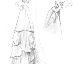340x270 Wedding dress sketch Etsy
