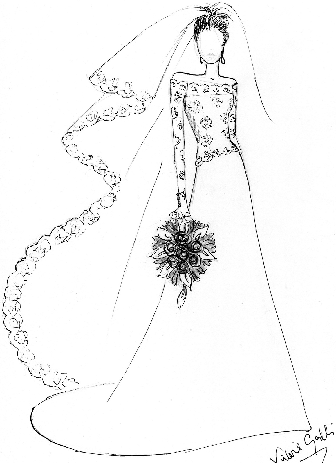 1158x1594 Blog Wedding Dress Drawing Wedding Stationery From Appleberry