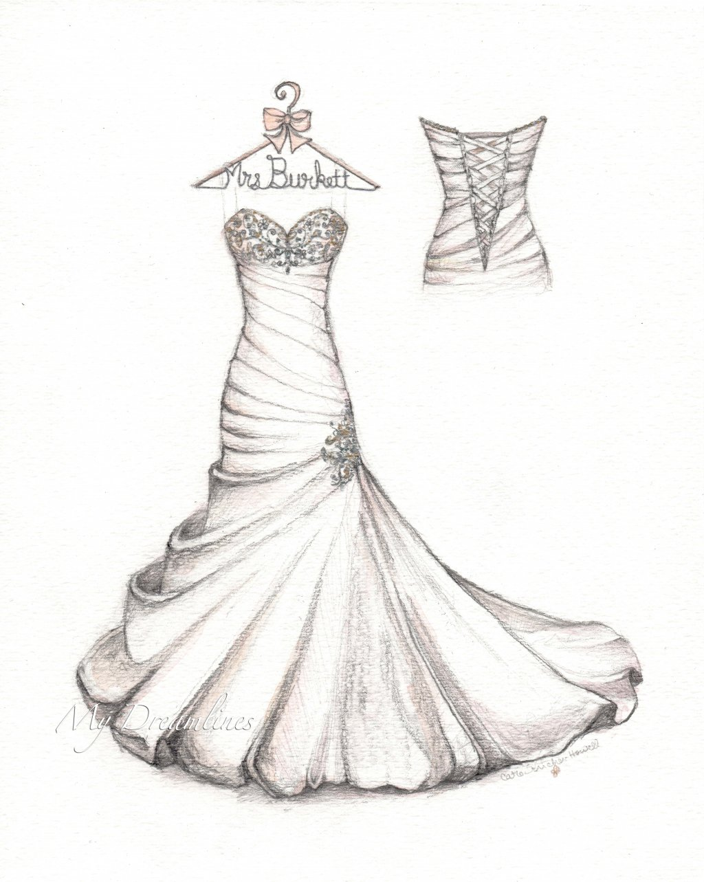 1024x1283 Drawn Wedding Dress Hanger Vector Pencil And In Color Drawn