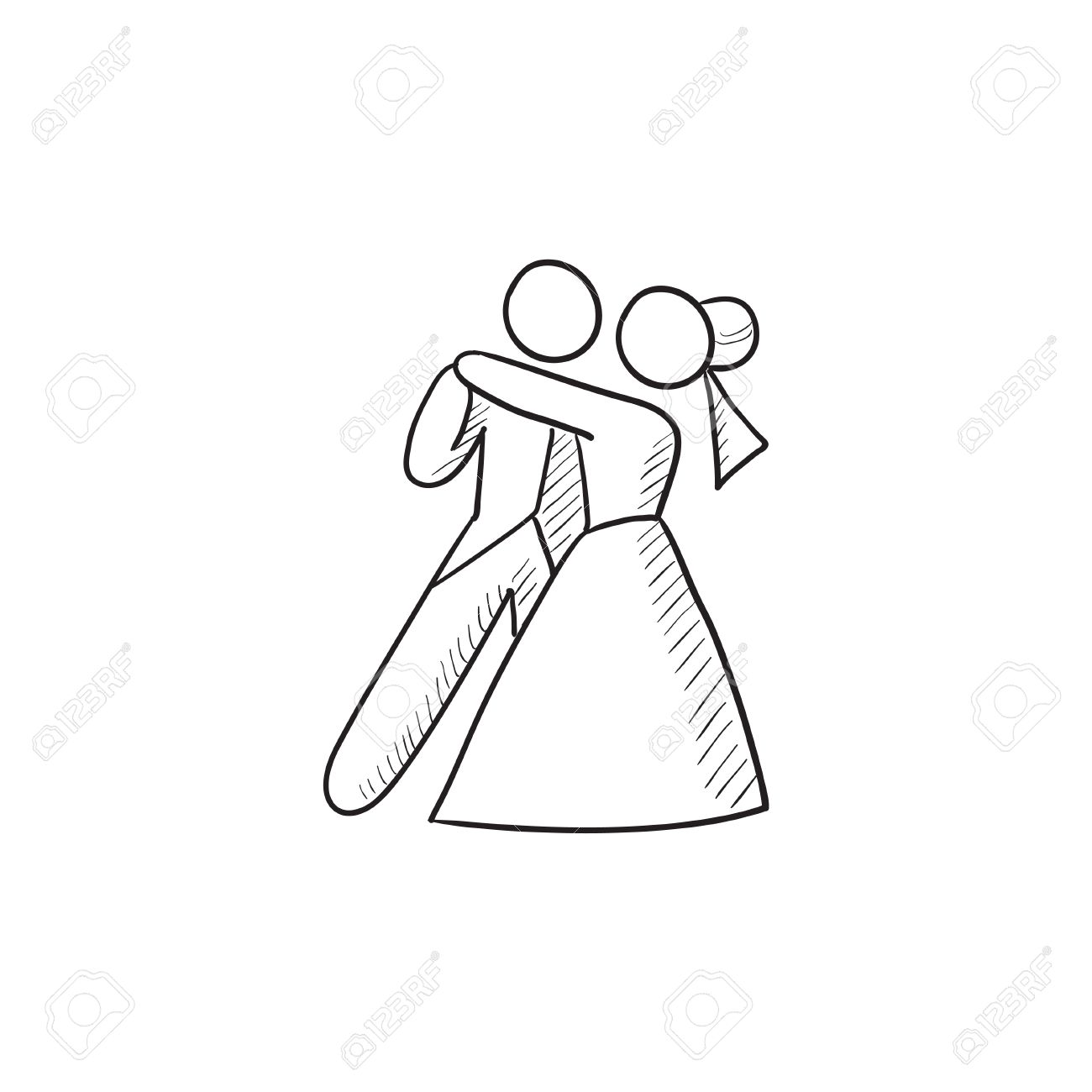 1300x1300 First Wedding Dance Vector Sketch Icon Isolated On Background