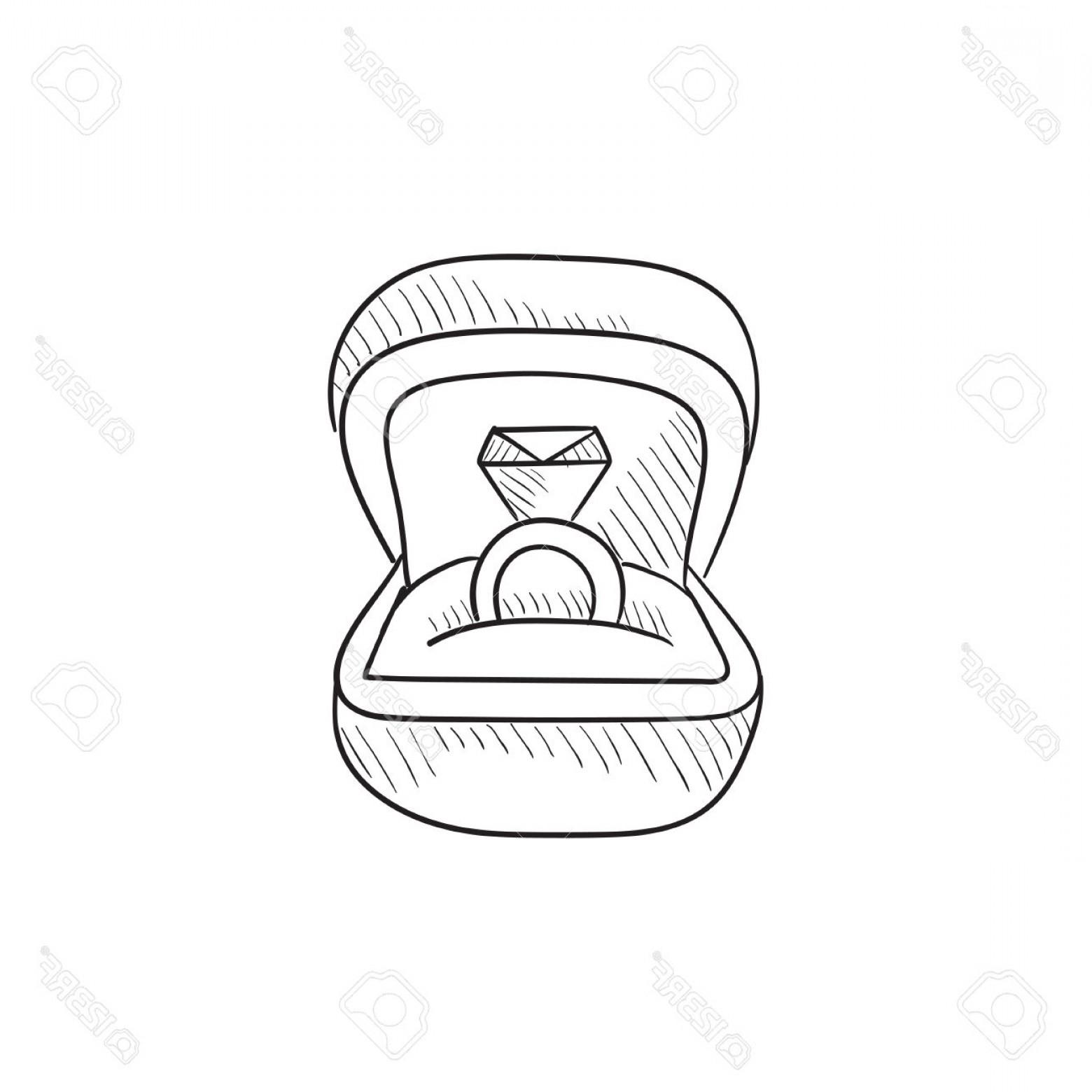 1560x1560 Photostock Vector Wedding Ring In Gift Box Vector Sketch Icon