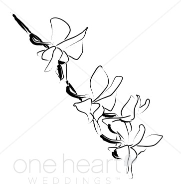 363x388 Summer Orchid Sketch Wedding Orchid Clipart