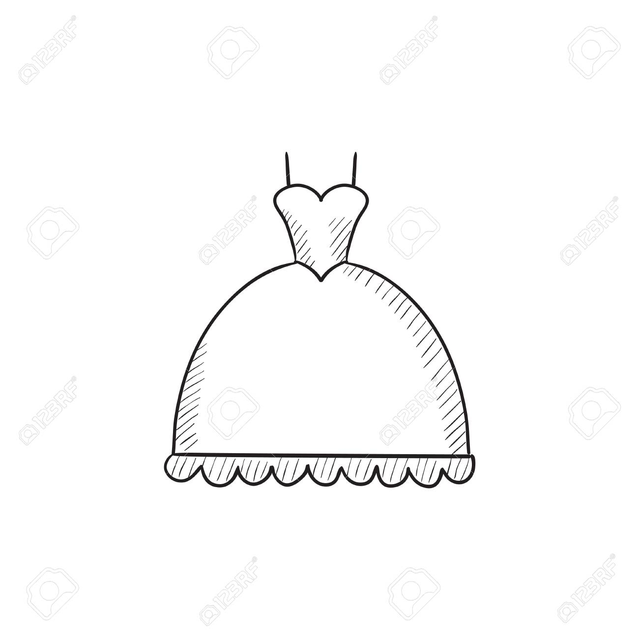 1300x1300 Wedding Dress Vector Sketch Icon Isolated On Background. Hand