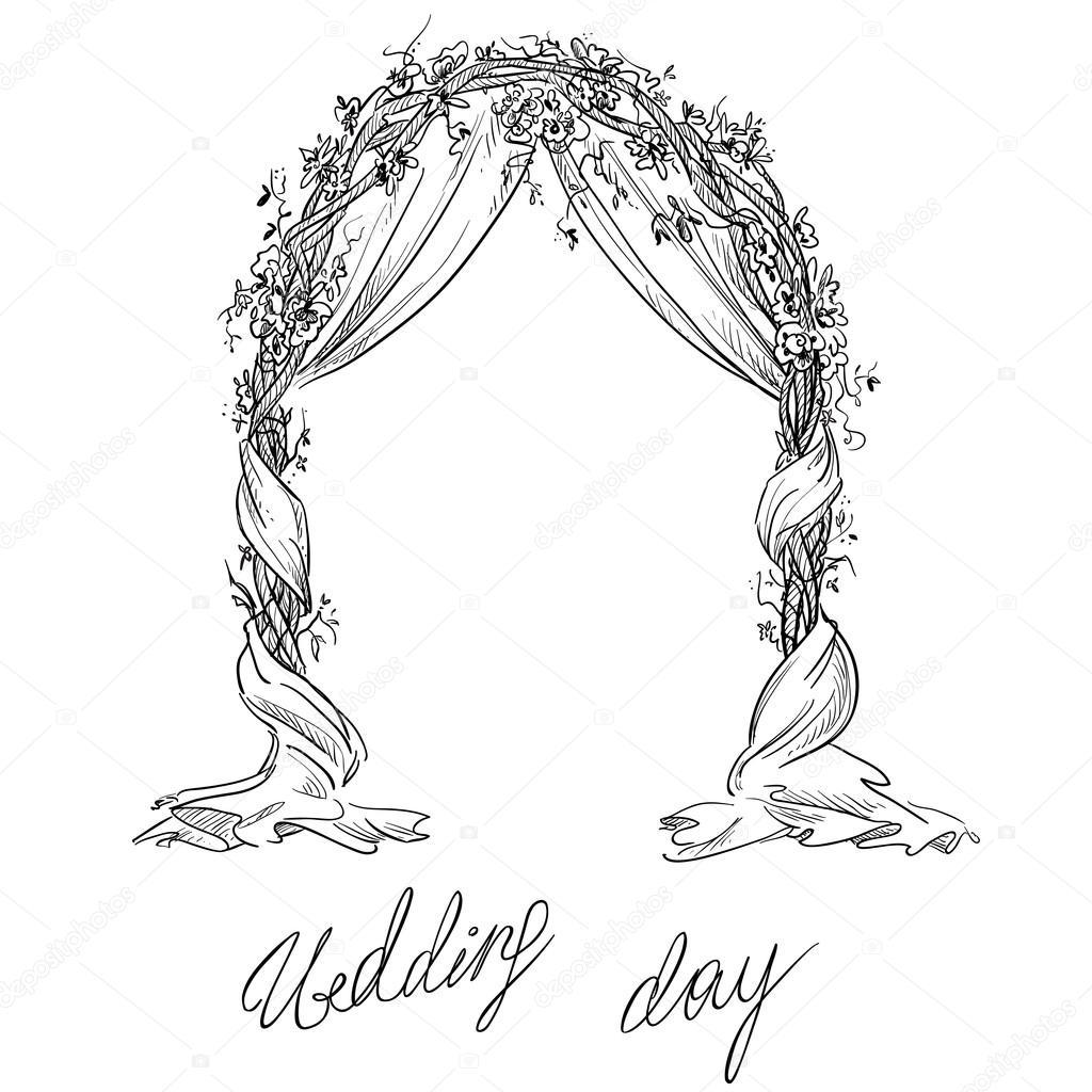 1024x1024 Wedding Arch. Decoration. Vector Sketch. Design Element. Stock