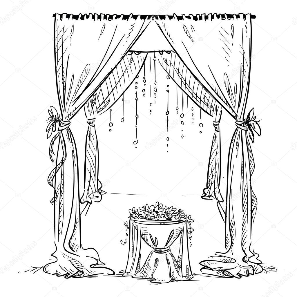 1024x1024 Wedding Arch. Wedding Altar. Decoration. Vector Sketch. Design