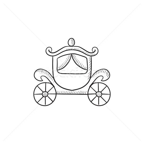 600x600 Wedding Carriage Sketch Icon. Vector Illustration Andrei