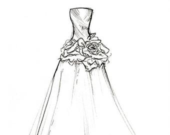 340x270 Bridal Gown Sketch Etsy