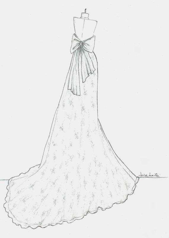 570x803 Custom Wedding Dress Sketch, Back Wedding Dress Hand Drawing
